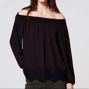 LOFT off the shoulder blouse with lace detail